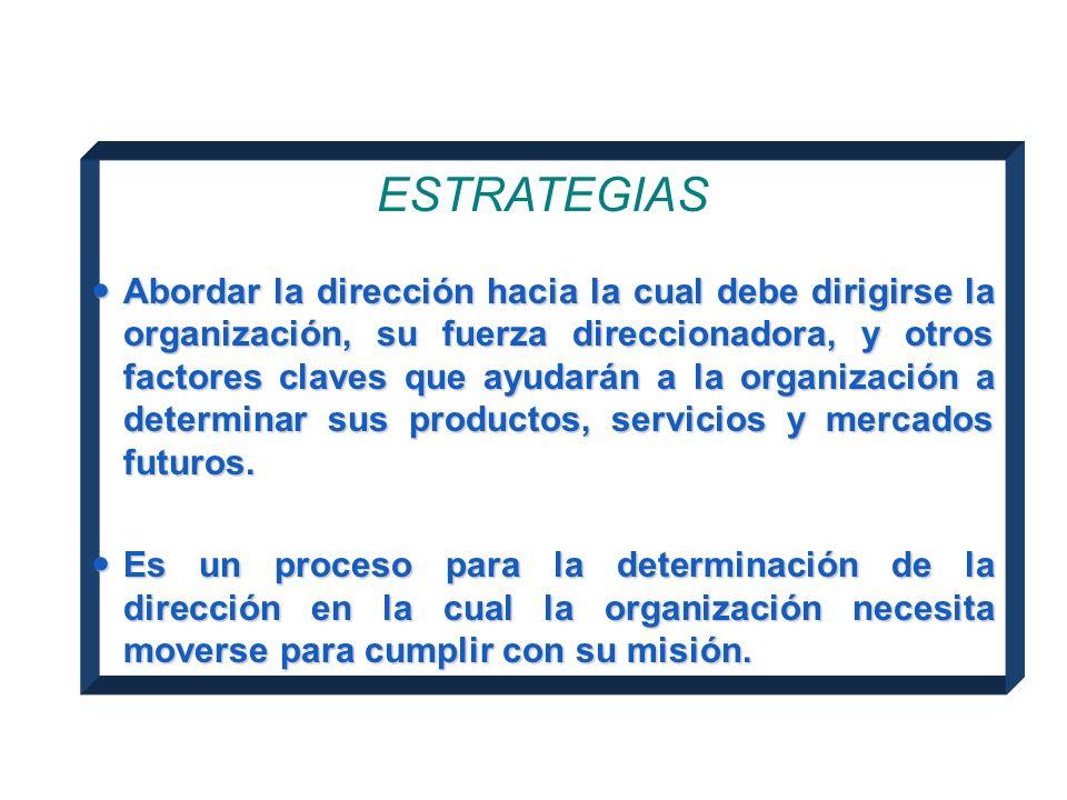 Estrategias ESTRATEGIAS Abordar la dirección hacia la cual debe dirigirse la organización, su fuerza direccionadora, y otros factores claves que ayudarán a la organización a determinar sus productos, servicios y mercados futuros.