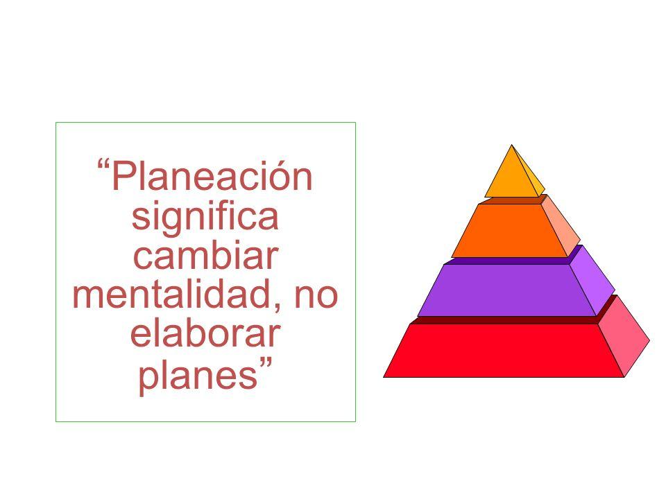 Planeación significa cambiar mentalidad, no elaborar planes Habilidad de planeación