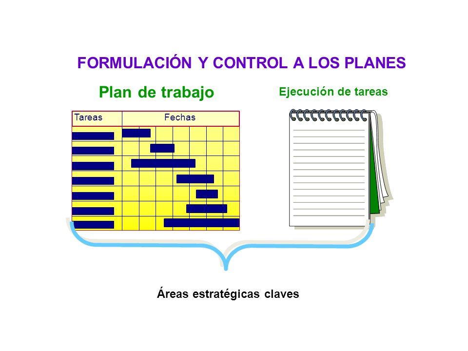 Plan de trabajo TareasFechas Ejecución de tareas Áreas estratégicas claves FORMULACIÓN Y CONTROL A LOS PLANES Habilidad de planeación