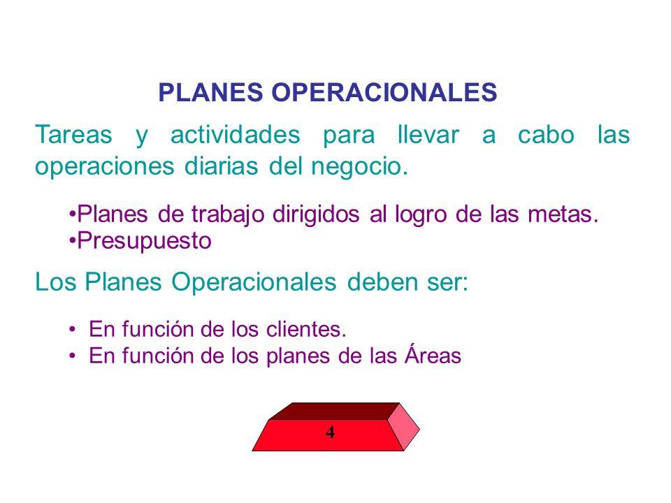 PLANES OPERACIONALES Tareas y actividades para llevar a cabo las operaciones diarias del negocio. Planes de trabajo dirigidos al logro de las metas. P