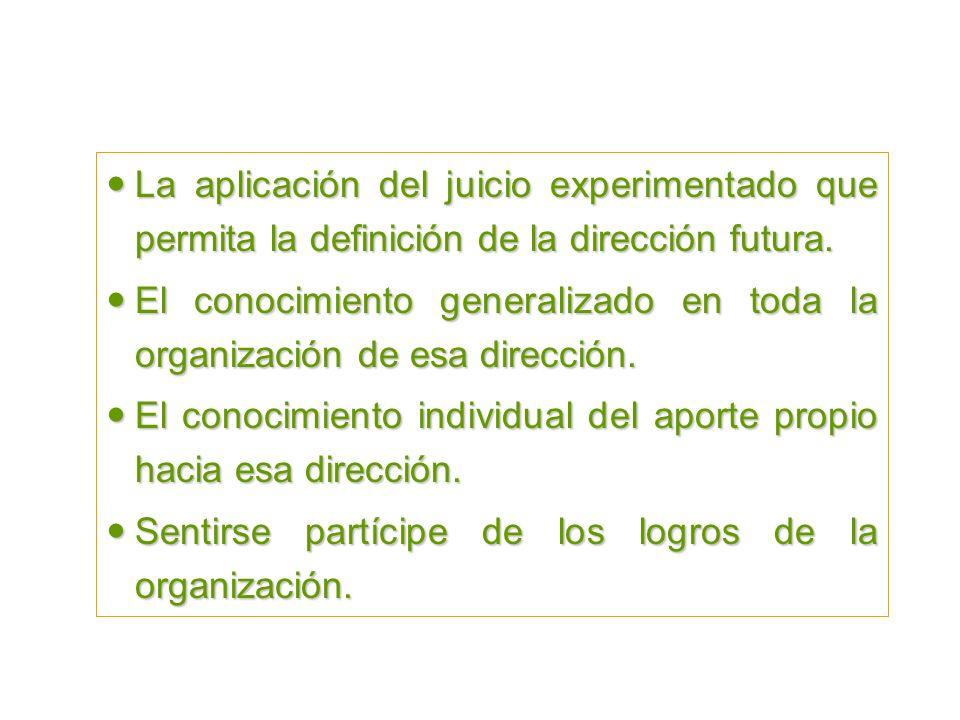 El Pensamiento Estratégico La aplicación del juicio experimentado que permita la definición de la dirección futura.