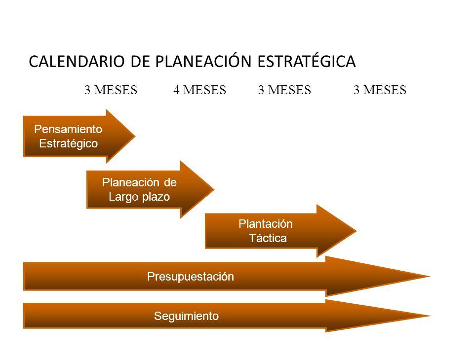 CALENDARIO DE PLANEACIÓN ESTRATÉGICA Pensamiento Estratégico Presupuestación Plantación Táctica Planeación de Largo plazo Seguimiento 3 MESES 4 MESES 3 MESES 3 MESES Proceso de planeación estratégica