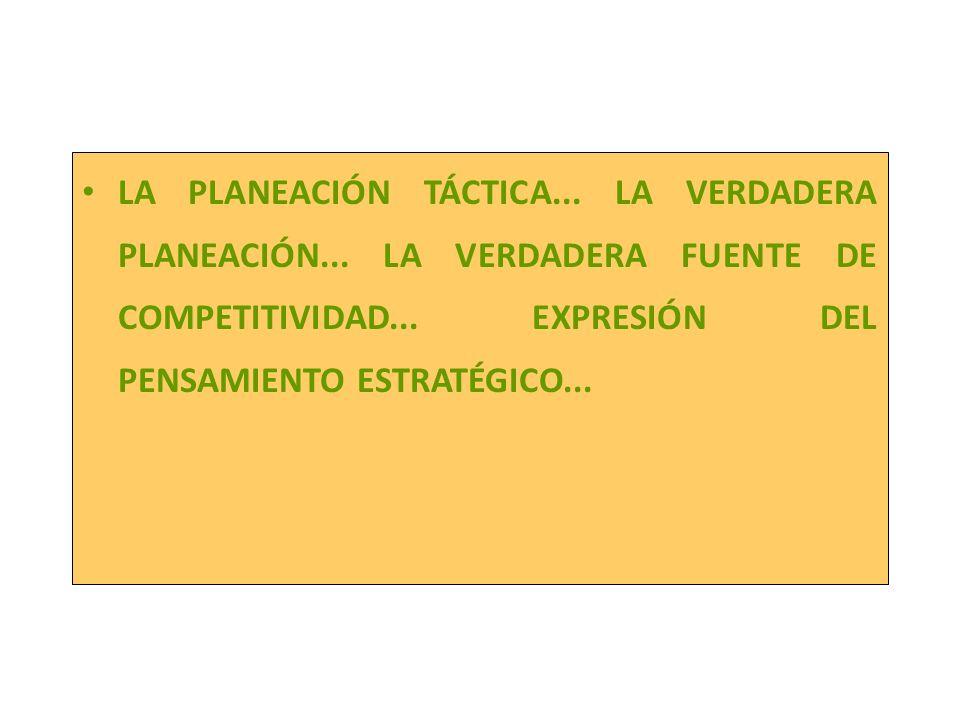 La planeación táctica LA PLANEACIÓN TÁCTICA... LA VERDADERA PLANEACIÓN... LA VERDADERA FUENTE DE COMPETITIVIDAD... EXPRESIÓN DEL PENSAMIENTO ESTRATÉGI