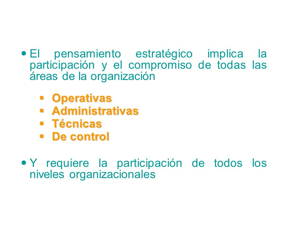 El pensamiento estratégico implica la participación y el compromiso de todas las áreas de la organización Operativas Operativas Administrativas Administrativas Técnicas Técnicas De control De control Y requiere la participación de todos los niveles organizacionales El Pensamiento Estratégico