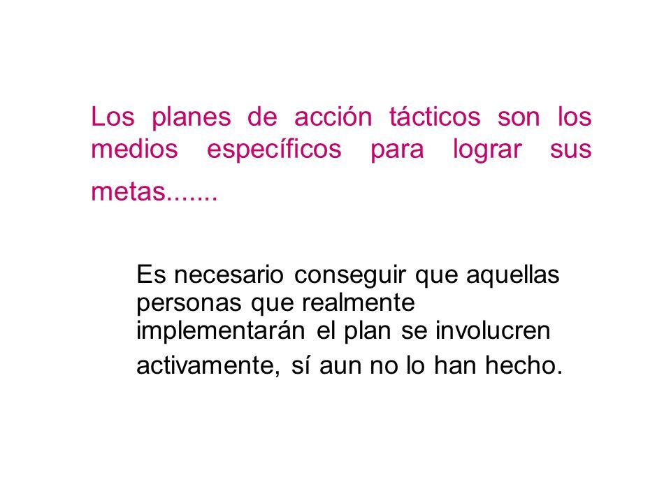 Los planes de acción tácticos son los medios específicos para lograr sus metas.......