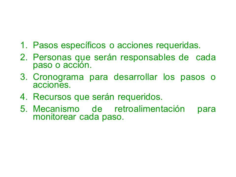 1.Pasos específicos o acciones requeridas. 2.Personas que serán responsables de cada paso o acción. 3.Cronograma para desarrollar los pasos o acciones