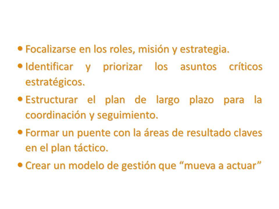 Focalizarse en los roles, misión y estrategia. Focalizarse en los roles, misión y estrategia. Identificar y priorizar los asuntos críticos estratégico
