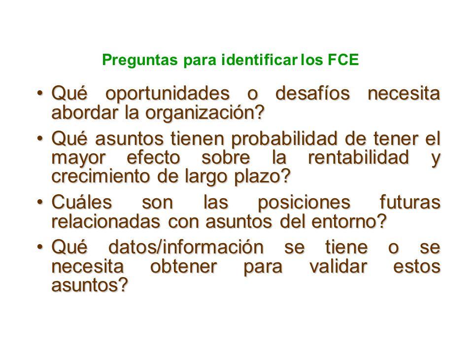 Preguntas para identificar los FCE Qué oportunidades o desafíos necesita abordar la organización?Qué oportunidades o desafíos necesita abordar la organización.
