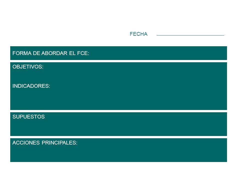 FORMA DE ABORDAR EL FCE: OBJETIVOS: INDICADORES: Registro de factores claves de éxito y objetivos SUPUESTOS ACCIONES PRINCIPALES: FECHA
