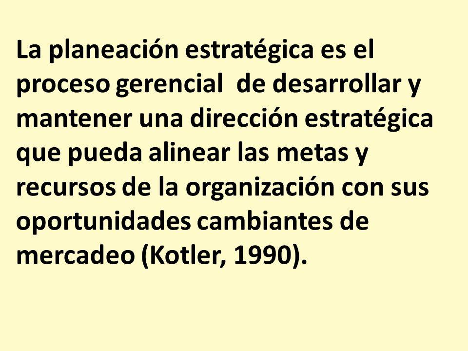 La planeación estratégica es el proceso gerencial de desarrollar y mantener una dirección estratégica que pueda alinear las metas y recursos de la org