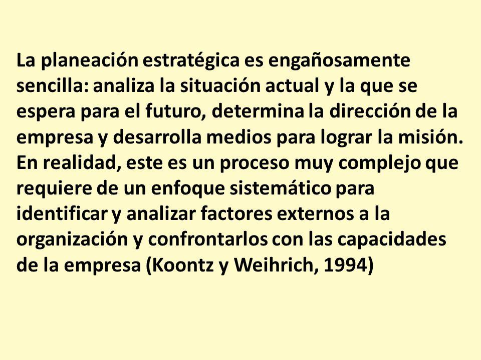 La planeación estratégica es engañosamente sencilla: analiza la situación actual y la que se espera para el futuro, determina la dirección de la empre