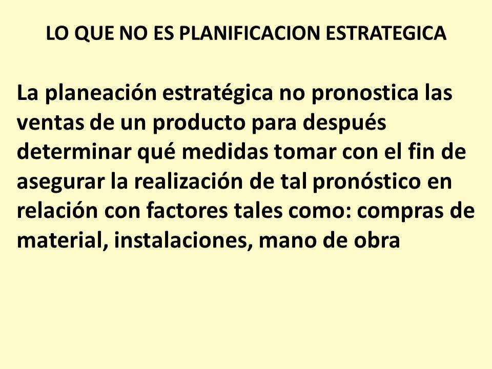 LO QUE NO ES PLANIFICACION ESTRATEGICA La planeación estratégica no pronostica las ventas de un producto para después determinar qué medidas tomar con