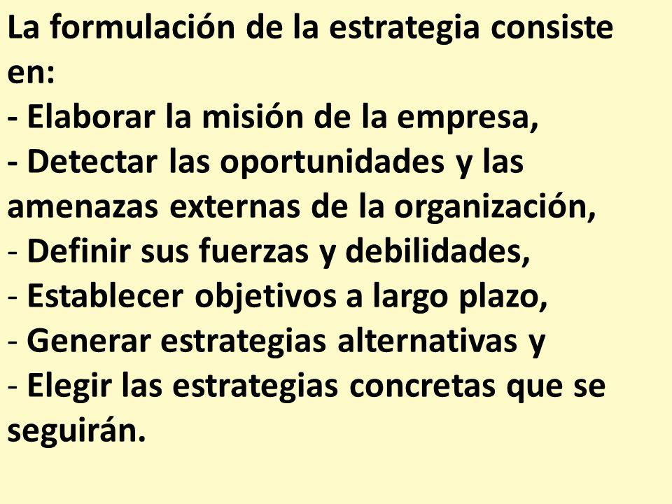 La formulación de la estrategia consiste en: - Elaborar la misión de la empresa, - Detectar las oportunidades y las amenazas externas de la organizaci