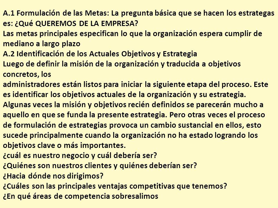 A.1 Formulación de las Metas: La pregunta básica que se hacen los estrategas es: ¿Qué QUEREMOS DE LA EMPRESA? Las metas principales especifican lo que