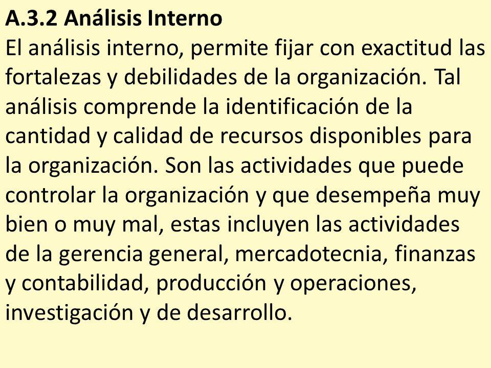 A.3.2 Análisis Interno El análisis interno, permite fijar con exactitud las fortalezas y debilidades de la organización. Tal análisis comprende la ide