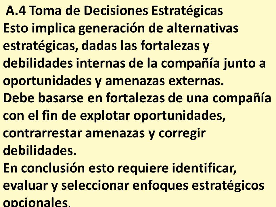 A.4 Toma de Decisiones Estratégicas Esto implica generación de alternativas estratégicas, dadas las fortalezas y debilidades internas de la compañía j