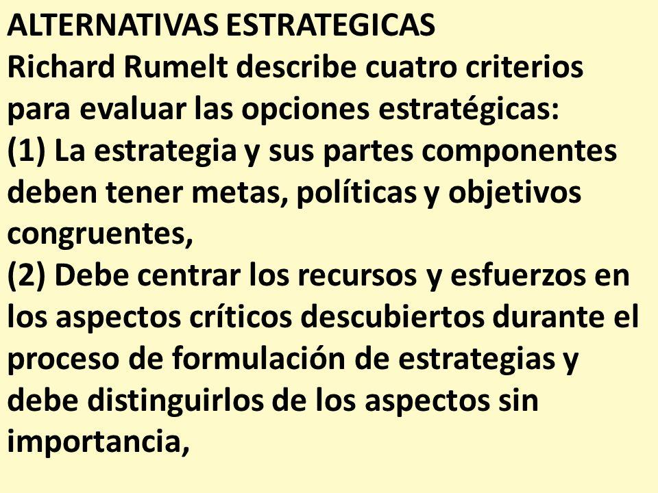 ALTERNATIVAS ESTRATEGICAS Richard Rumelt describe cuatro criterios para evaluar las opciones estratégicas: (1) La estrategia y sus partes componentes