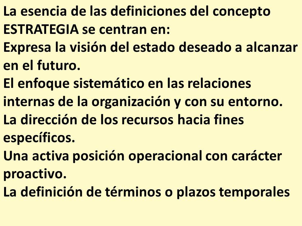 La esencia de las definiciones del concepto ESTRATEGIA se centran en: Expresa la visión del estado deseado a alcanzar en el futuro. El enfoque sistemá