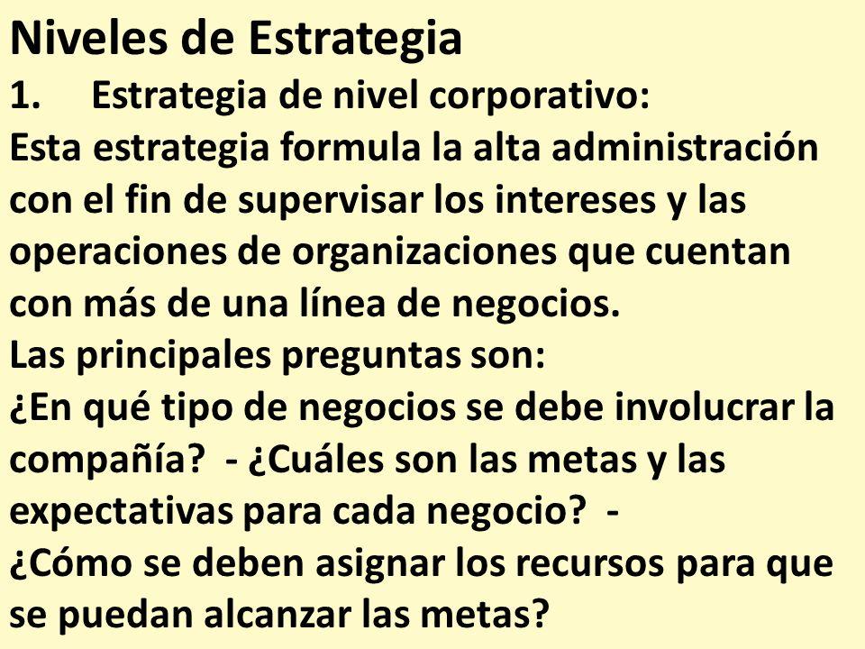 Niveles de Estrategia 1. Estrategia de nivel corporativo: Esta estrategia formula la alta administración con el fin de supervisar los intereses y las