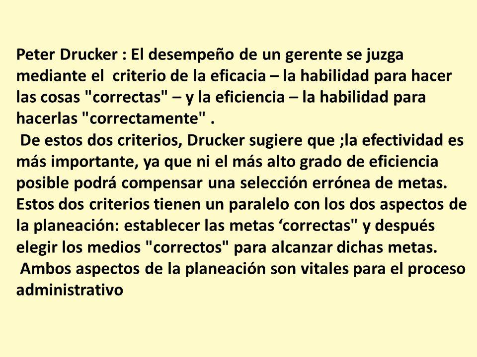 Peter Drucker : El desempeño de un gerente se juzga mediante el criterio de la eficacia – la habilidad para hacer las cosas