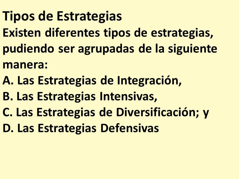 Tipos de Estrategias Existen diferentes tipos de estrategias, pudiendo ser agrupadas de la siguiente manera: A. Las Estrategias de Integración, B. Las