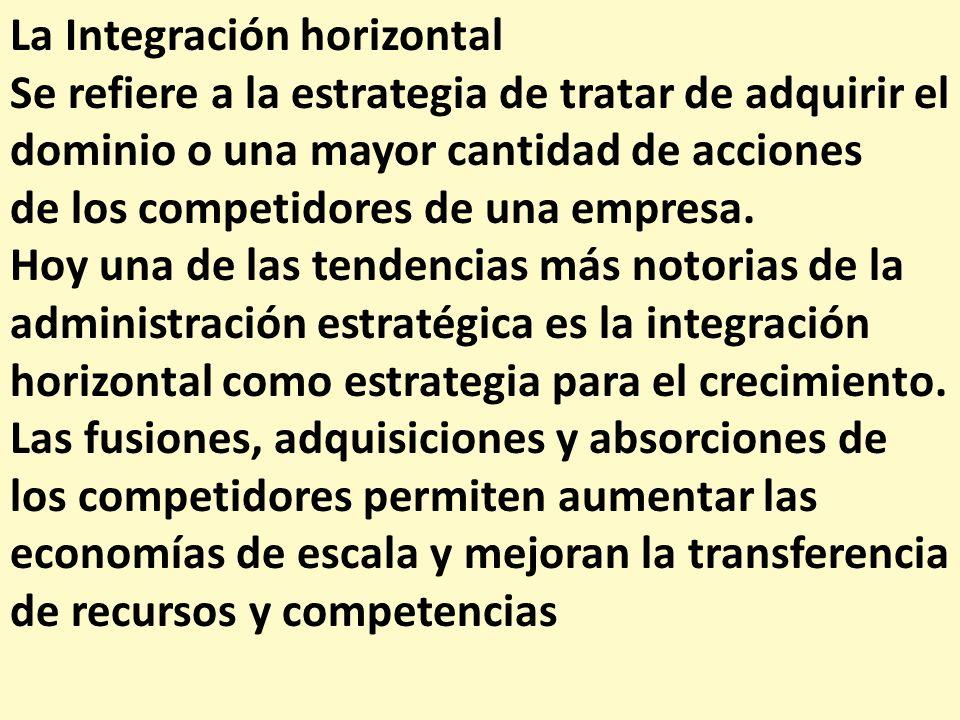 La Integración horizontal Se refiere a la estrategia de tratar de adquirir el dominio o una mayor cantidad de acciones de los competidores de una empr