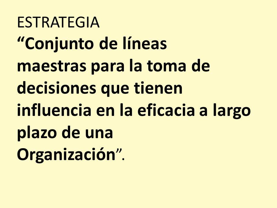 ESTRATEGIA Conjunto de líneas maestras para la toma de decisiones que tienen influencia en la eficacia a largo plazo de una Organización.