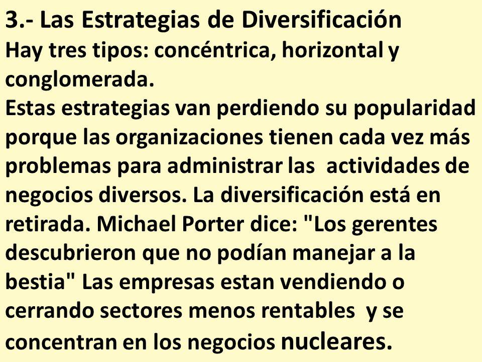3.- Las Estrategias de Diversificación Hay tres tipos: concéntrica, horizontal y conglomerada. Estas estrategias van perdiendo su popularidad porque l