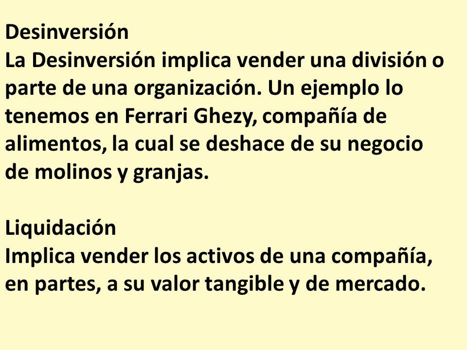 Desinversión La Desinversión implica vender una división o parte de una organización. Un ejemplo lo tenemos en Ferrari Ghezy, compañía de alimentos, l