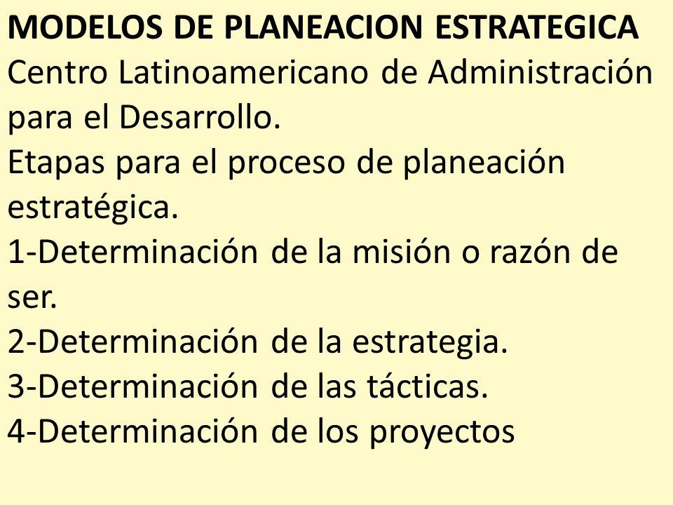 MODELOS DE PLANEACION ESTRATEGICA Centro Latinoamericano de Administración para el Desarrollo. Etapas para el proceso de planeación estratégica. 1-Det