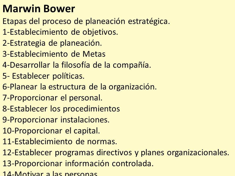 Marwin Bower Etapas del proceso de planeación estratégica. 1-Establecimiento de objetivos. 2-Estrategia de planeación. 3-Establecimiento de Metas 4-De
