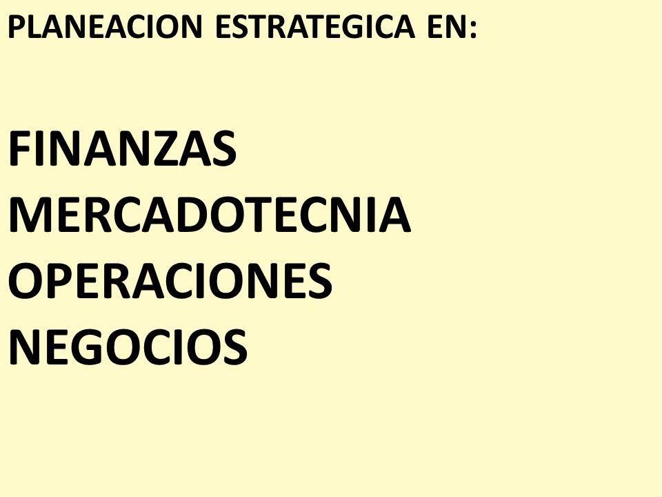 PLANEACION ESTRATEGICA EN: FINANZAS MERCADOTECNIA OPERACIONES NEGOCIOS