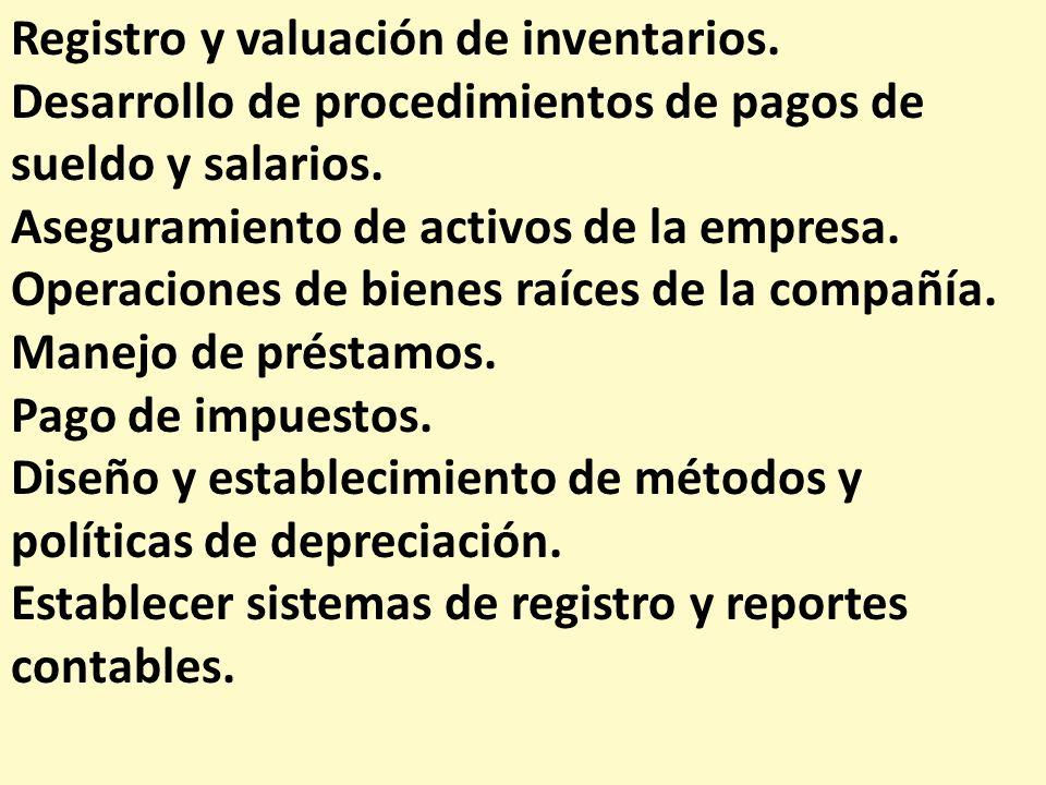 Registro y valuación de inventarios. Desarrollo de procedimientos de pagos de sueldo y salarios. Aseguramiento de activos de la empresa. Operaciones d
