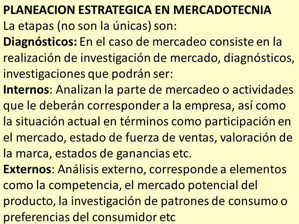 PLANEACION ESTRATEGICA EN MERCADOTECNIA La etapas (no son la únicas) son: Diagnósticos: En el caso de mercadeo consiste en la realización de investiga