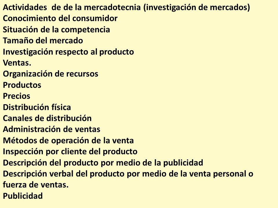 Actividades de de la mercadotecnia (investigación de mercados) Conocimiento del consumidor Situación de la competencia Tamaño del mercado Investigació