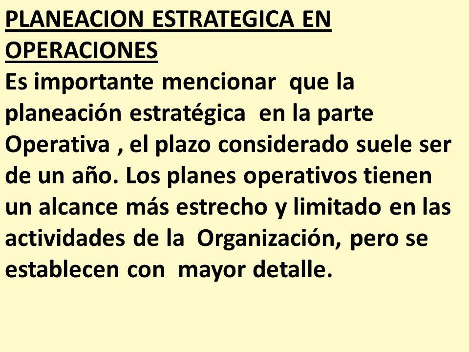 PLANEACION ESTRATEGICA EN OPERACIONES Es importante mencionar que la planeación estratégica en la parte Operativa, el plazo considerado suele ser de u