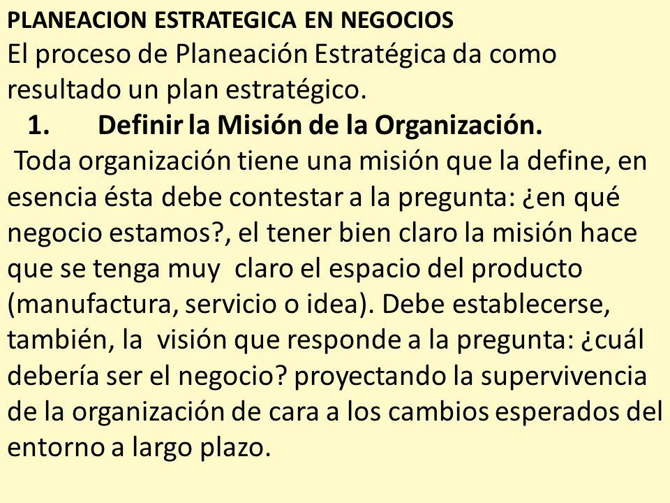 PLANEACION ESTRATEGICA EN NEGOCIOS El proceso de Planeación Estratégica da como resultado un plan estratégico. 1. Definir la Misión de la Organización
