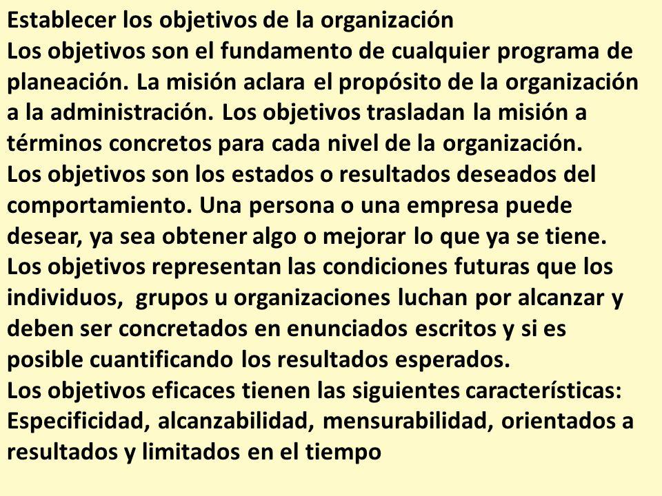 Establecer los objetivos de la organización Los objetivos son el fundamento de cualquier programa de planeación. La misión aclara el propósito de la o
