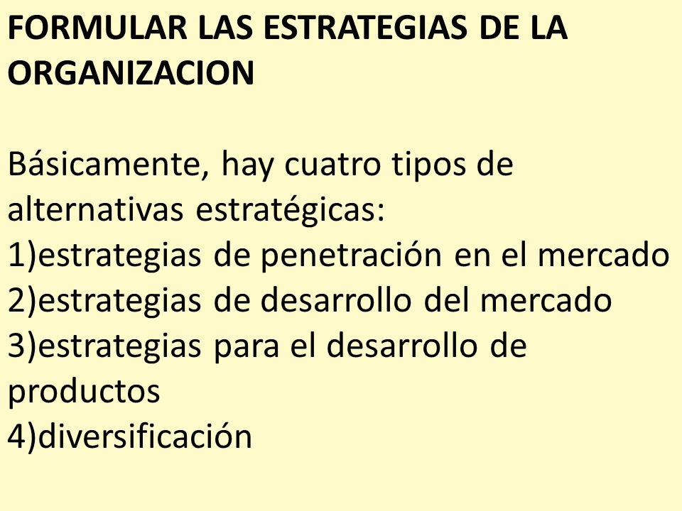 FORMULAR LAS ESTRATEGIAS DE LA ORGANIZACION Básicamente, hay cuatro tipos de alternativas estratégicas: 1)estrategias de penetración en el mercado 2)e
