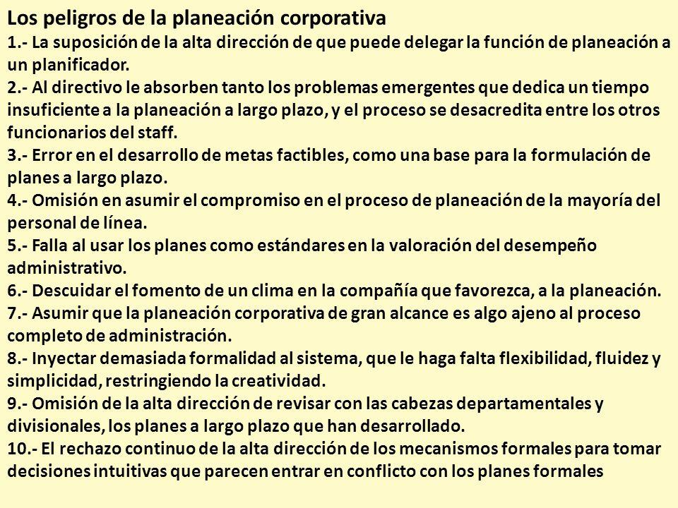 Los peligros de la planeación corporativa 1.- La suposición de la alta dirección de que puede delegar la función de planeación a un planificador. 2.-