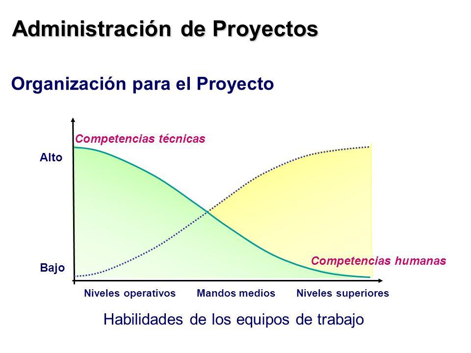 Administración de Proyectos Habilidades de los equipos de trabajo Organización para el Proyecto Alto Bajo Competencias técnicas Competencias humanas N