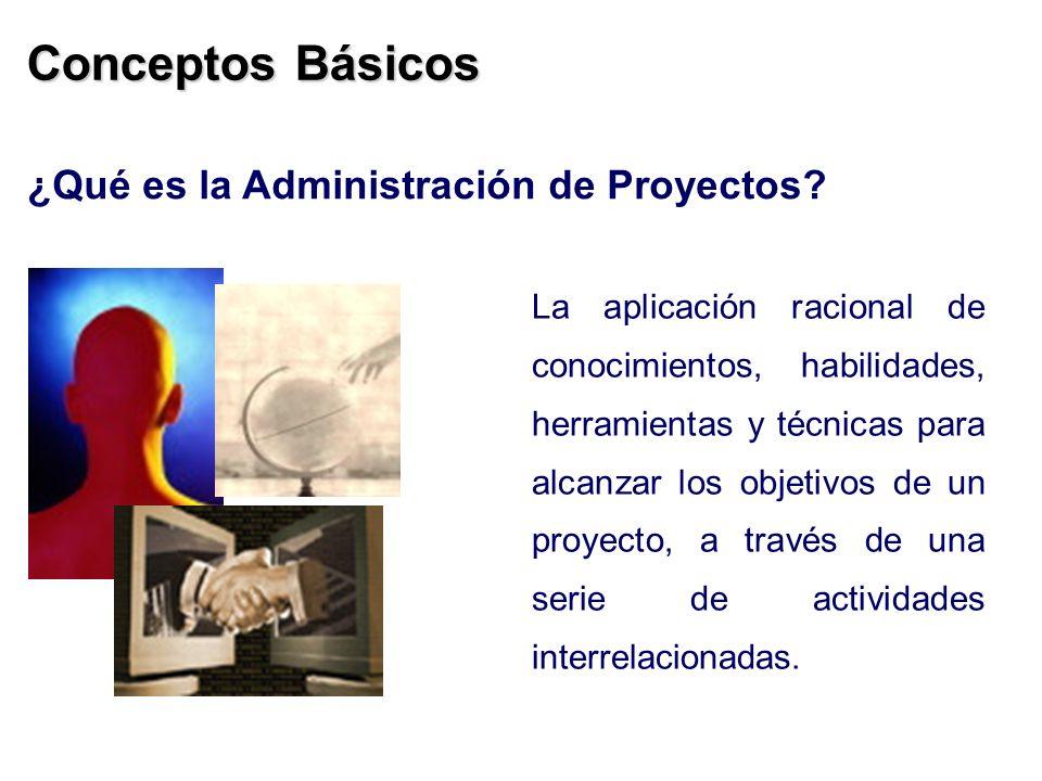 La aplicación racional de conocimientos, habilidades, herramientas y técnicas para alcanzar los objetivos de un proyecto, a través de una serie de act