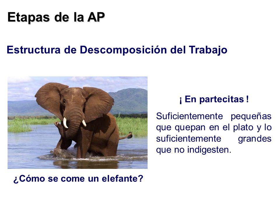 Etapas de la AP ¿Cómo se come un elefante? ¡ En partecitas ! Suficientemente pequeñas que quepan en el plato y lo suficientemente grandes que no indig