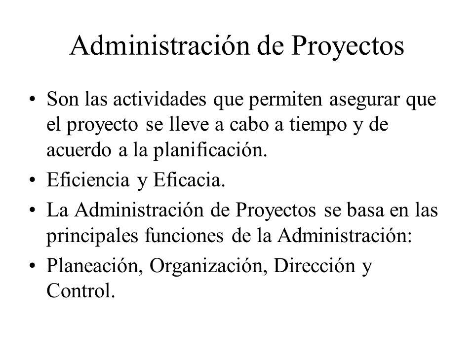 Administración de Proyectos Son las actividades que permiten asegurar que el proyecto se lleve a cabo a tiempo y de acuerdo a la planificación. Eficie