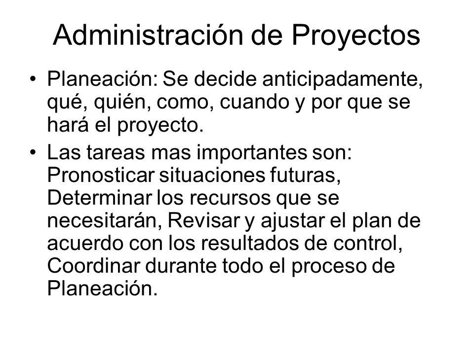 Administración de Proyectos Planeación: Se decide anticipadamente, qué, quién, como, cuando y por que se hará el proyecto. Las tareas mas importantes