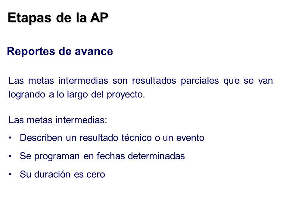 Etapas de la AP Reportes de avance Las metas intermedias son resultados parciales que se van logrando a lo largo del proyecto. Las metas intermedias: