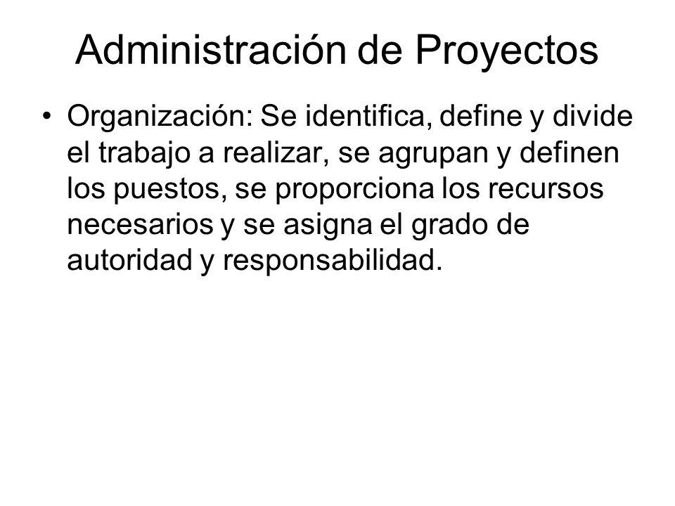 Administración de Proyectos Organización: Se identifica, define y divide el trabajo a realizar, se agrupan y definen los puestos, se proporciona los r