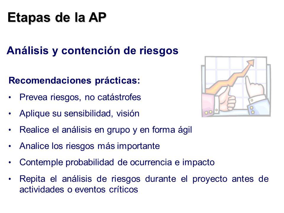 Etapas de la AP Análisis y contención de riesgos Recomendaciones prácticas: Prevea riesgos, no catástrofes Aplique su sensibilidad, visión Realice el