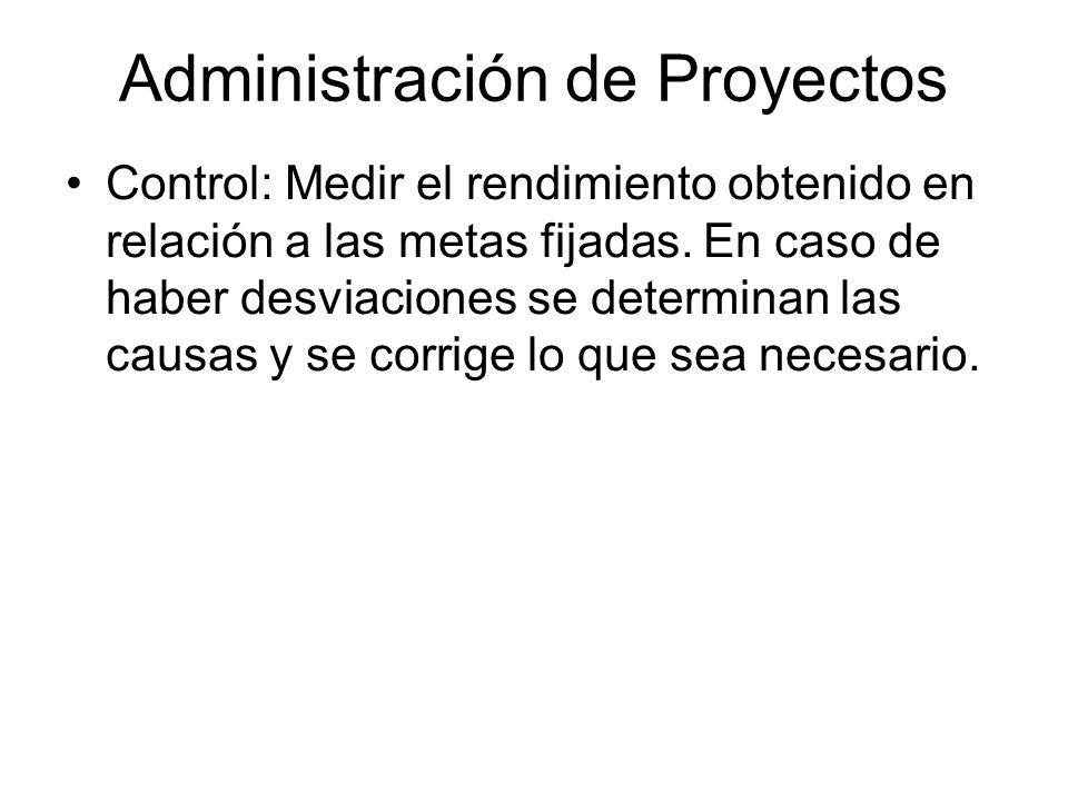 Administración de Proyectos Control: Medir el rendimiento obtenido en relación a las metas fijadas. En caso de haber desviaciones se determinan las ca