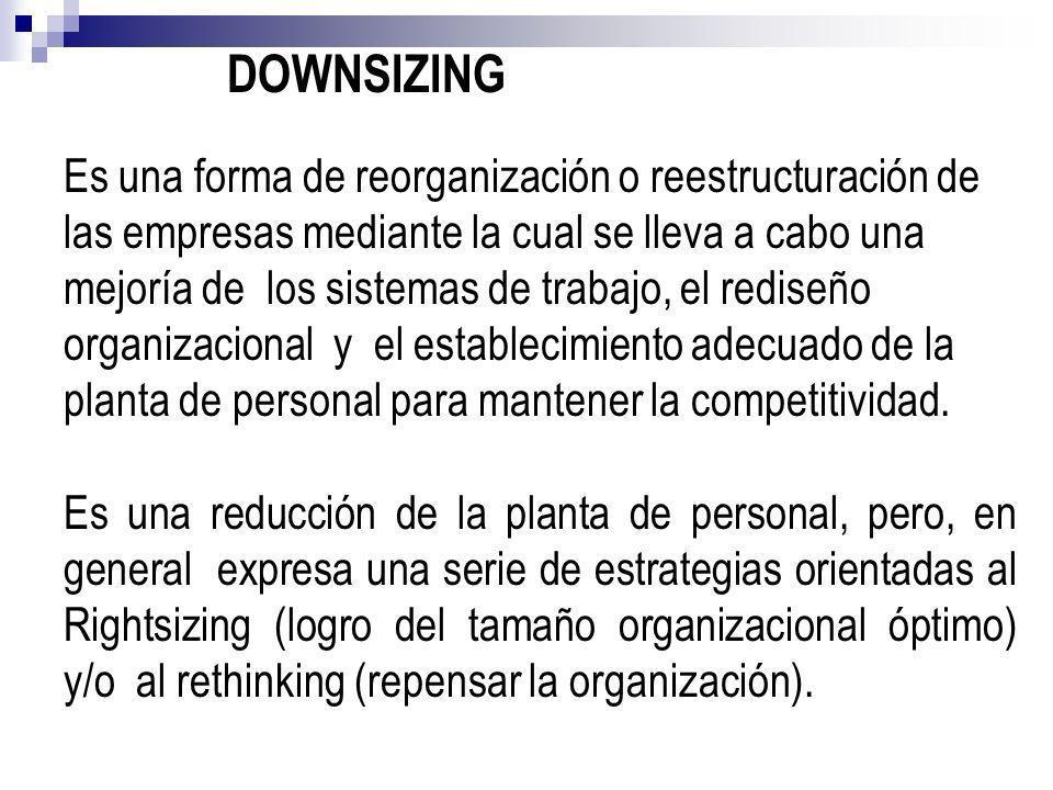 DOWNSIZING Es una forma de reorganización o reestructuración de las empresas mediante la cual se lleva a cabo una mejoría de los sistemas de trabajo,